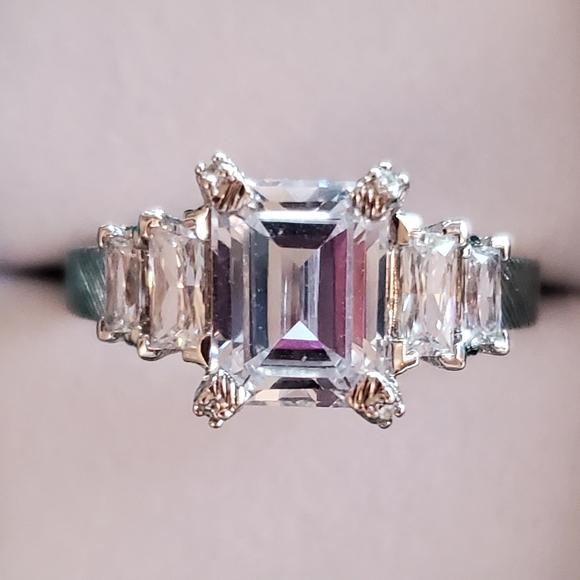 Judith Ripka CZ Emerald Cut Step Ring. Size 9.